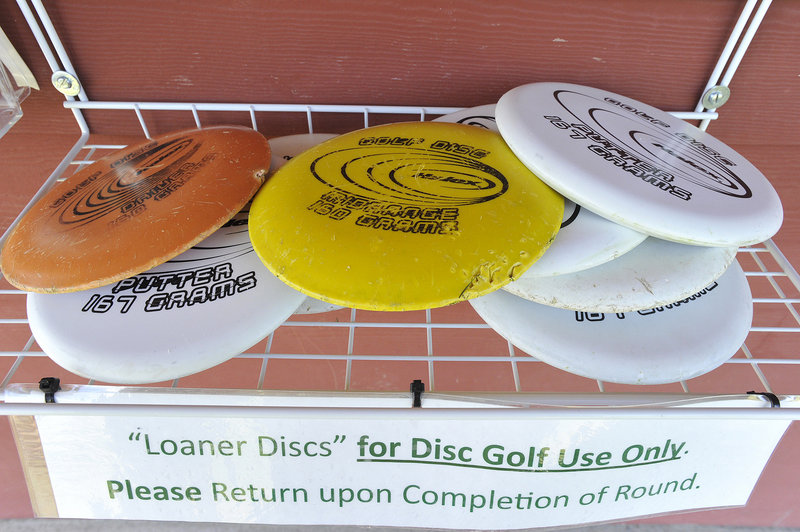 Discs are available for players to use on the course. They range from drivers, meant to fly far, to putters, which are designed to go straight.