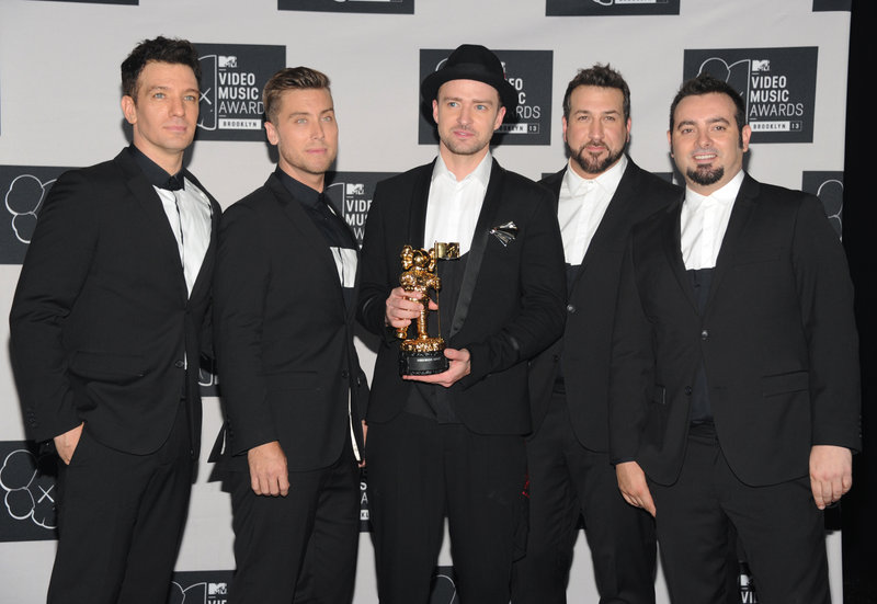 JC Chasez, Lance Bass, Justin Timberlake, Joey Fatone and Chris Kirkpatrick of 'N Sync at the MTV Video Music Awards on Sunday.