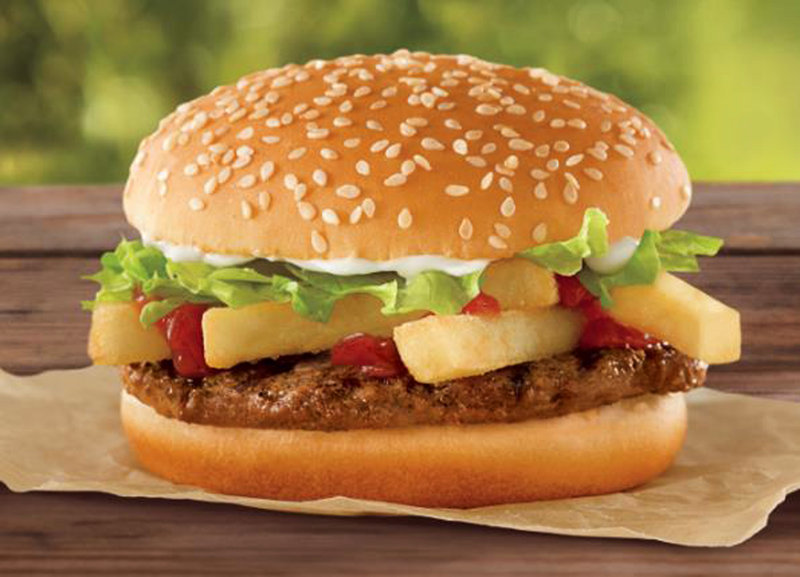 Burger King will roll out its French Fry Burger on Sunday in many areas. It will cost a dollar.