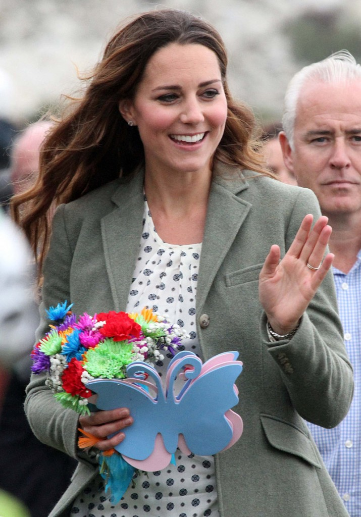The duchess of Cambridge appears at a marathon event Friday in Anglesey, Wales.