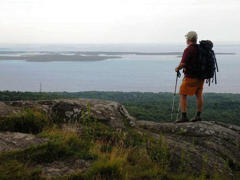 The summit of Bald Rock Mountain at Camden Hills State Park offers spectacular ocean views. There are two rustic shelters near the summit for overnight camping.