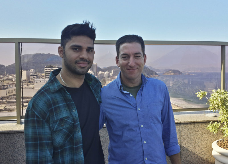 This photo shows Guardian journalist Glenn Greenwald, right, and his partner, David Miranda. Greenwald has written stories based on material leaked by Edward Snowden.