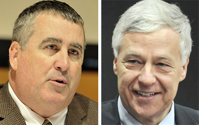 """Steve Woods, left, declared his """"unequivocal support"""" for Mike Michaud, right, at a news conference in Falmouth on Wednesday."""