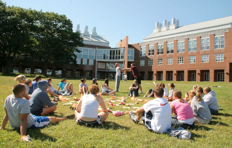 In this 2007 file photo, freshmen participate in a team-building exercise on the University of New England campus in Biddeford. dozen Maine high school graduates will get scholarships to study science, technology, engineering and math at the University of New England, thanks to a $620,000 grant from the National Science Foundation.