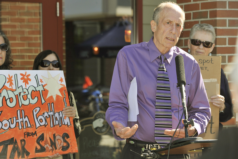 Barry Zuckerman, a member of Protect South Portland, speaks at the news conference Wednesday in South Portland to oppose the exporting of so-called tar sands out of Casco Bay.