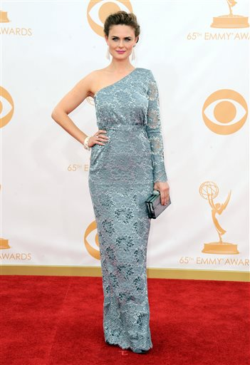 Emily Deschanel arrives at the Emmy Awards Sunday.