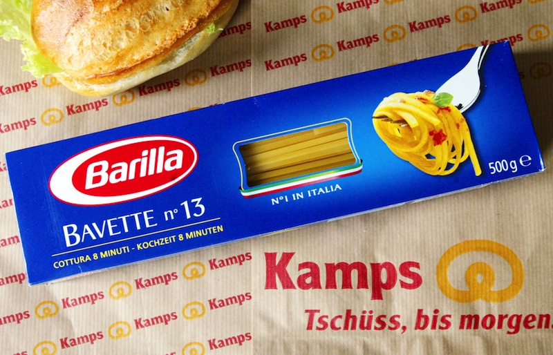 """A wrapping of Italian pasta maker Barilla is posed on a roll bag of the German bakery Kamps. An executive of the Italy-based pasta maker Barilla has apologized for hurting anyone's """"sensitivity"""" after saying the company would never feature ads depicting gay families."""