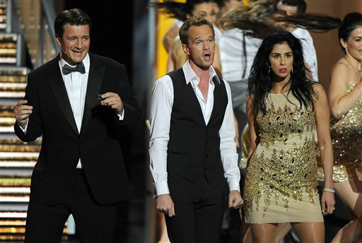Nathan Fillion, Neil Patrick Harris, and Sarah Silverman perform on stage at the 65th Primetime Emmy Awards on Sunday.
