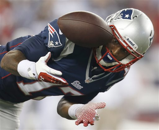 New England Patriots wide receiver Aaron Dobson can't make the reception on a pass from Tom Brady during the second quarter of Thursday's game against the New York Jets in Foxborough, Mass.