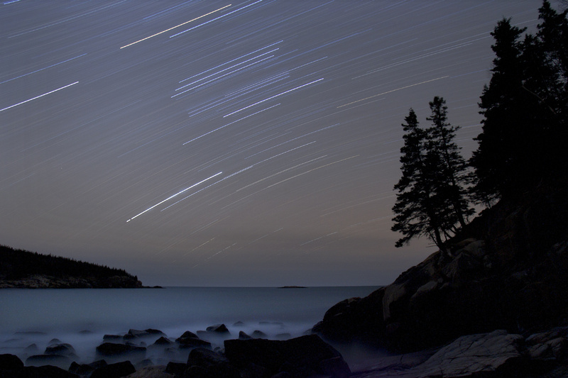 Star trails streak across the sky in a 75-minute time-exposure at Acadia National Park. The star-filled night skies are being celebrated during the fifth annual Acadia Night Sky Festival which began Thursday and runs through Sunday.