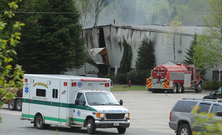 Emergency crews respond to an explosion at the Black Mag factory plant in Colebrook, N.H., on May 14, 2010. Jesse Kennett and Donald Kendall died in the explosion at the plant.