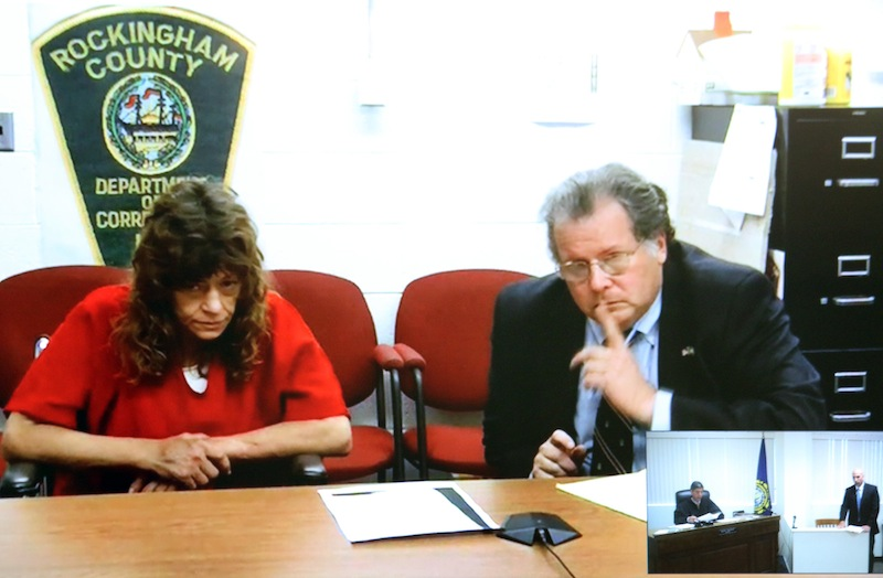 Attorney Neil Reardon, gestures to Cindy Sheppard, 47, of Hampton, NH argued that her bail should be set lower than the state's request of $10,000 cash-only because Sheppard isn't a flight risk, having grown up in New Hampshire and having family and friends located in the state. He also noted that Sheppard is a double below-the-knee amputee.