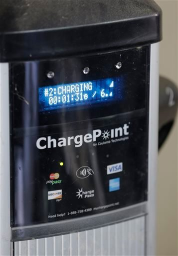 The screen of a charge station in Orlando, Fla. If a car runs low on power while on the road, its dashboard screen displays the nearest charging stations.