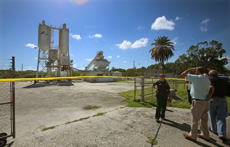 Polk County Sheriff personnel investigate the death of 12-year-old Rebecca Ann Sedwick at an old cement plant in Lakeland, Fla.