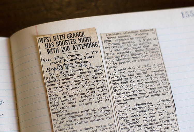 The headline of a newspaper clipping from 1957 reports a large attendance for a function held at the West Bath Grange. Granges are the nation's oldest farm and rural public interest organization and once had more than 60,000 members in Maine. Now there are about 135 community granges with less than 5,000 members.
