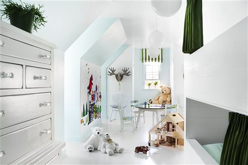 Designer Brian Patrick Flynn uses white plastic globe lights when decorating children's bedrooms. Globe lights cast a flattering glow, and they are sturdy but stylish.