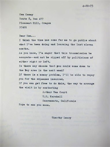 This photo provided by the New York Public Library shows Timothy Leary's April 20, 1975, letter to friend Ken Kesey, written from inside California State Prison in Folsom, where Leary was serving time on drug charges.