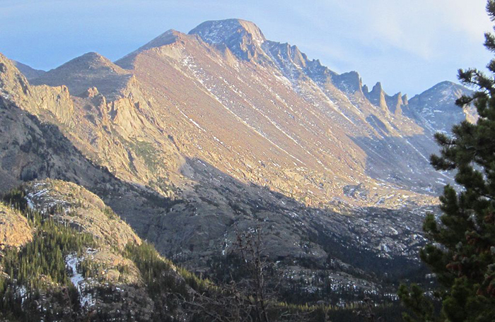 Longs Peak, at 14,259 feet, is one of the tallest mountains in Colorado and the tallest in Rocky Mountain National Park.
