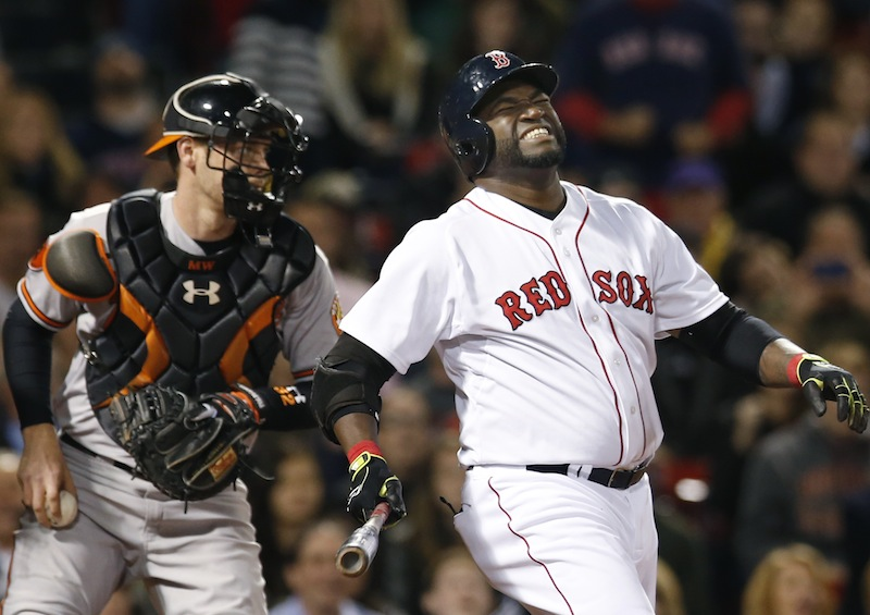 Boston Red Sox designated hitter David Ortiz grimaces as he strikes out swinging while Baltimore Orioles catcher Matt Wieters holds the ball in the eighth inning of a baseball game at Fenway Park in Boston, Tuesday, Sept. 17, 2013. (AP Photo/Elise Amendola) Fenway Park
