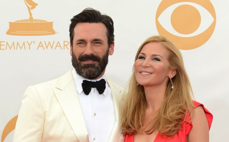 "Jon Hamm and longtime girlfriend Jennifer Westfeldt are shown at the Emmy Awards show Sunday in Los Angeles. Hamm co-stars in the upcoming miniseries, ""A Young Doctor's Notebook"" premiering Oct. 2 on Ovation."