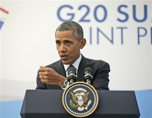 """President Barack Obama, speaking at a news conference at the G-20 Summit in St. Petersburg, Russia, on Friday said he had a """"candid and constructive conversation"""" with Russian President Vladimir Putin, even if they still disagreed on how to respond to the chemical weapons use in Syria."""