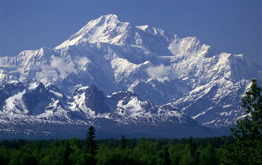 Mount McKinley as seen from Talkeetna, Alaska. It is the continent's highest peak.