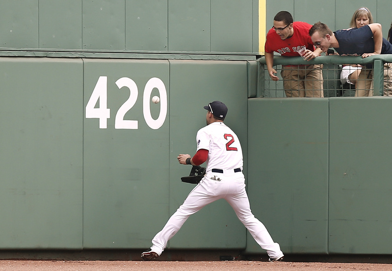 As fans look on, Boston Red Sox centerfielder Jacoby Ellsbury plays the ball off the wall in the deepest part of the park on a RBI triple by Detroit Tigers' Andy Dirks during the seventh inning at Fenway Park on Monday.