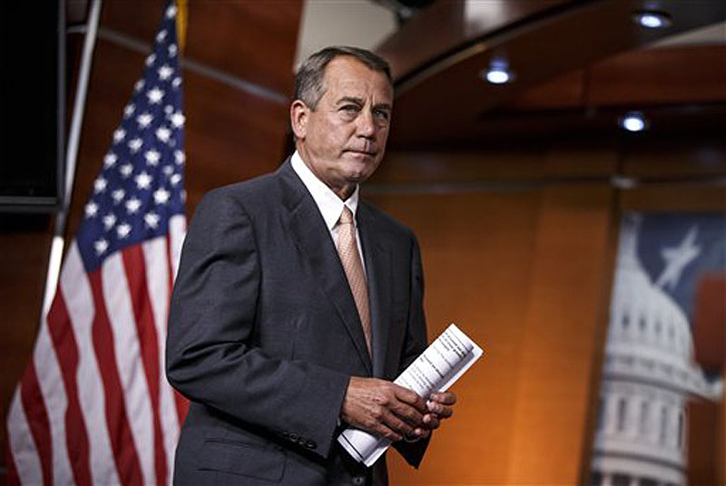 Speaker of the House John Boehner, R-Ohio, arrives for a news conference at the Capitol in Washington on Thursday.