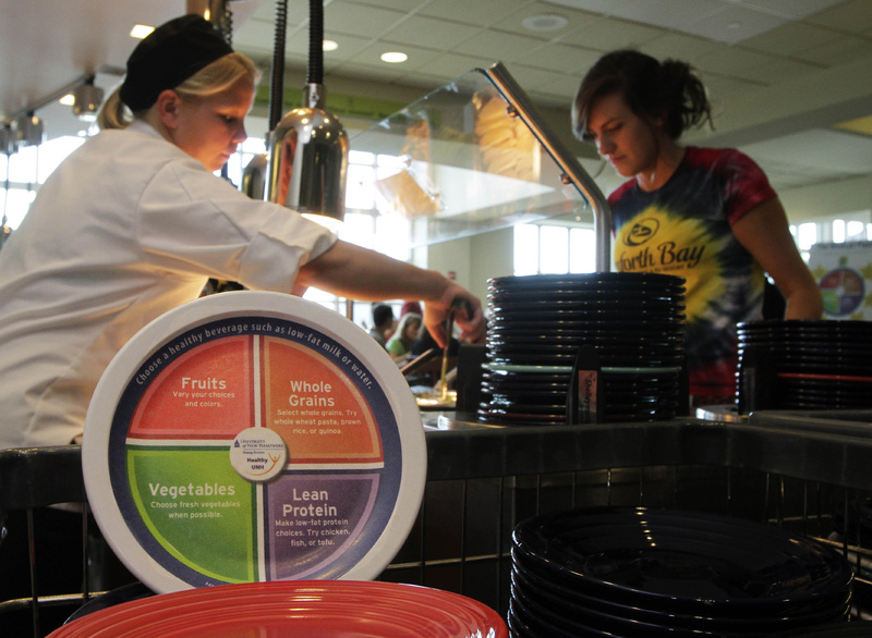 Students are served at the dining hall at the University of New Hampshire in Durham, N.H., where special plates are printed with dietary guidelines.