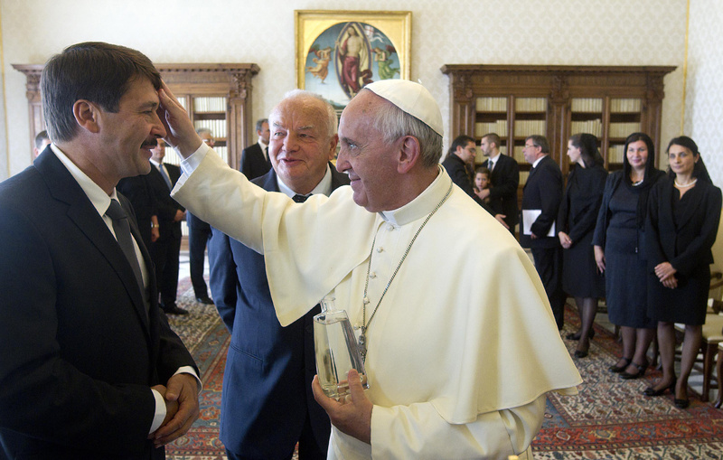 Pope Francis meets Hungary's President Janos Ader during a private audience at the Vatican on Friday.
