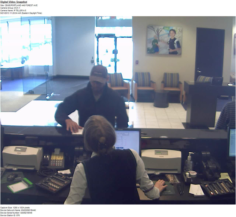 Portland police released this photo of the suspect in the robbery at TD Bank on Forest Avenue on Saturday.