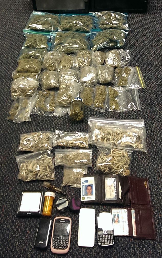 Confiscated drugs that were discovered in the possession of Alexander Buchanan of Falmouth.