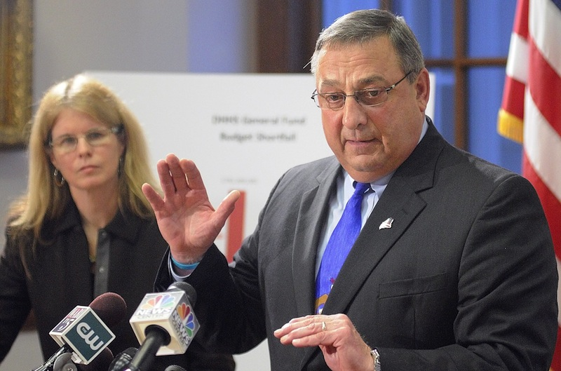 In this December 2011 file photo, Gov. Paul LePage and Maine DHHS commissioner Mary Mayhew host a press conference. Gov. LePage has promoted a crackdown a welfare fraud, but the amount recovered each year is small compared to the $700,000 annual cost. Still, LePage officials say the effort deters fraud.