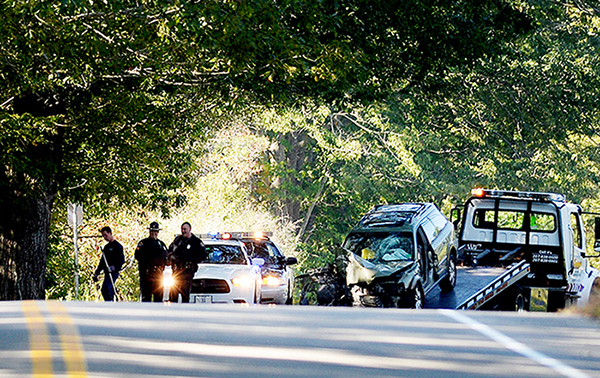 The scene of the fatal crash on Route 77 in Scarborough Tuesday morning.