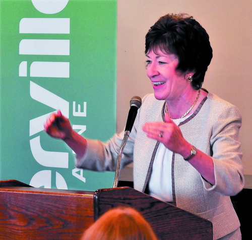 """U.S. Sen. Susan Collins spoke about the proposal for military action against Syria during a speech in Waterville on Tuesday. Collins said a plan to launch missiles at Syrian military sites is extremely difficult and one that she will consider. """"I am pleased the administration is going to Congress with the proposal,"""" Collins said."""