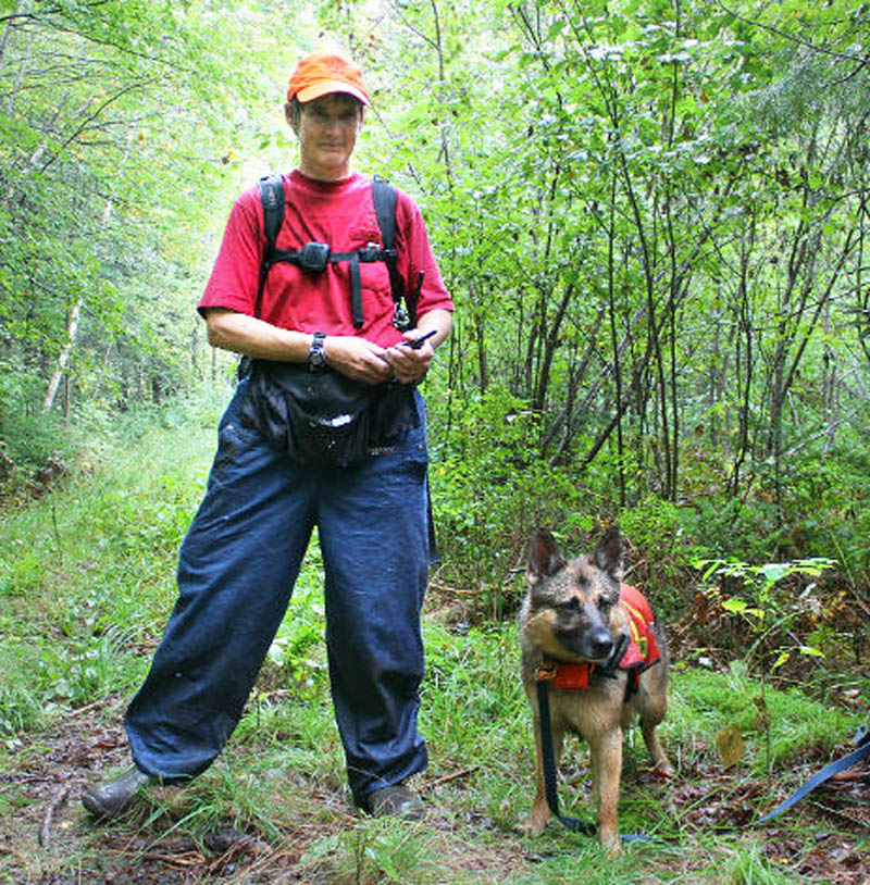 Searcher Deborah Palman and her dog Quinn found 86-year-old Arthur Wakeman about 1.2 miles from his Benton home on Friday. She is a retired game warden and current president of the Maine Association for Search and Rescue.