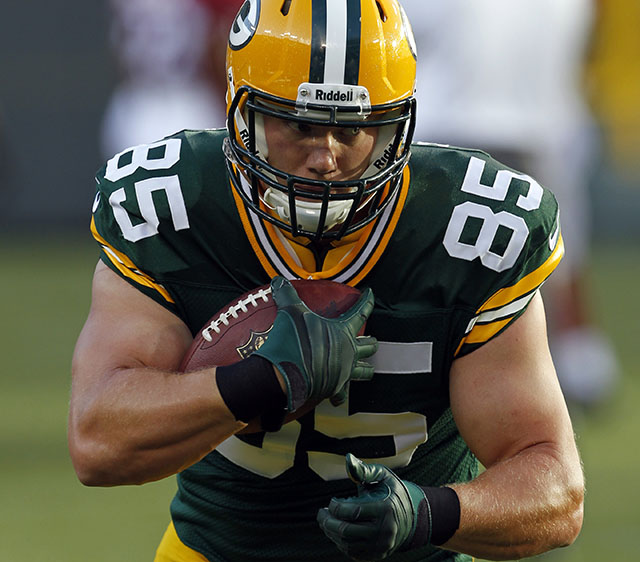 Green Bay Packers' Matthew Mulligan before a preseason NFL football game against the Arizona Cardinals Friday, Aug. 9, 2013, in Green Bay, Wis. (AP Photo/Mike Roemer)