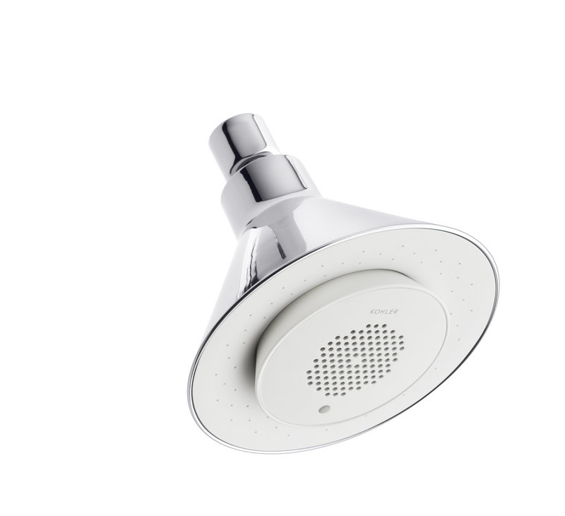 The Moxie showerhead from Kohler features an integrated speaker to provide musical accompaniment for singing in the shower.