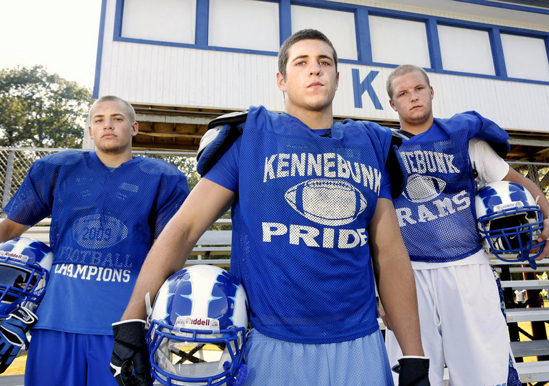 Kennebunk's bid for a successful season will be focused around its three captains: left to right are running back Tyler Elkington, running back Nicco DeLorenzo and lineman Ben Bath.