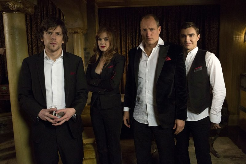 "Jesse Eisenberg, left, Isla Fisher, Woody Harrelson and Dave Franco in ""Now You See Me."""