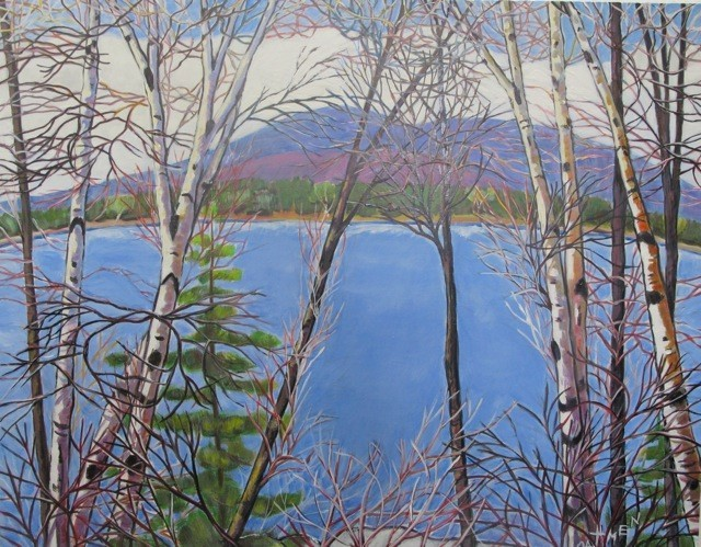 """Maine Blue,"" acrylic by Jane Dahmen, from ""Through the Trees,"" the exhibition of her work continuing through Sept. 28 at Gleason Fine Art in Portland. A reception will be held from 5 to 8 p.m. Friday."