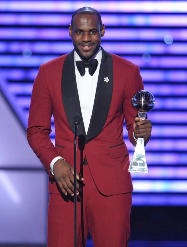 Miami Heat star LeBron James accepts the award for best male athlete at the ESPY Awards in Los Angeles.