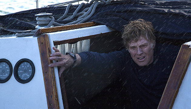 "Robert Redford at sea in ""All Is Lost."""