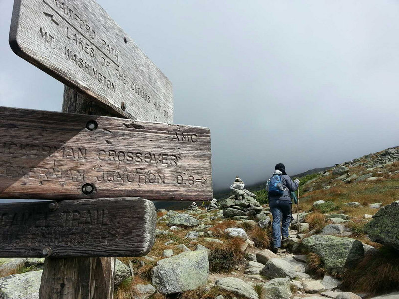 The Crawford Path is much more rocky and requires hikers to rely on cairns, rather than trail blazes, to follow the trail to the summit of Mount Washington.