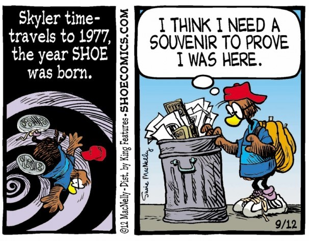 "A character from ""Shoe"" takes part in a 2012 retrospective. Criticism of a decision to add this and other strips to the Sunday Telegram comics section led to a spirited defense of the strips."