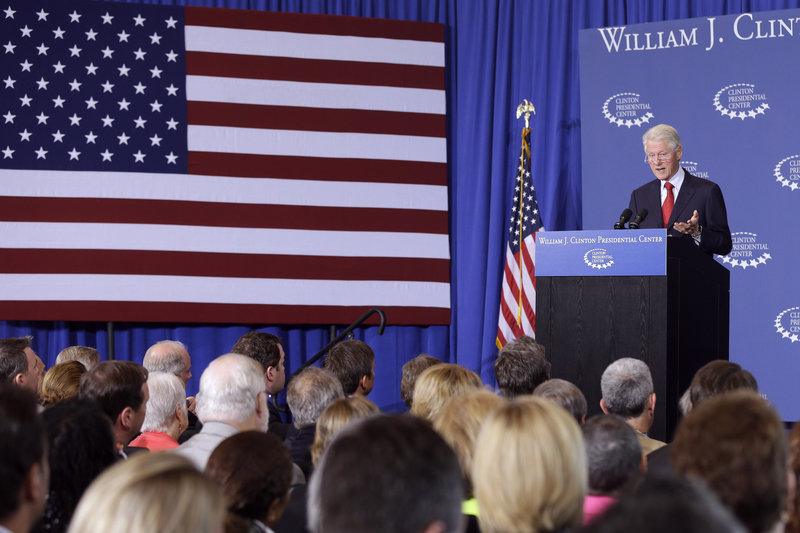 "Dubbed ""secretary of explaining stuff"" by President Obama, Bill Clinton makes a case for the Affordable Care Act on Wednesday in Little Rock, Ark."