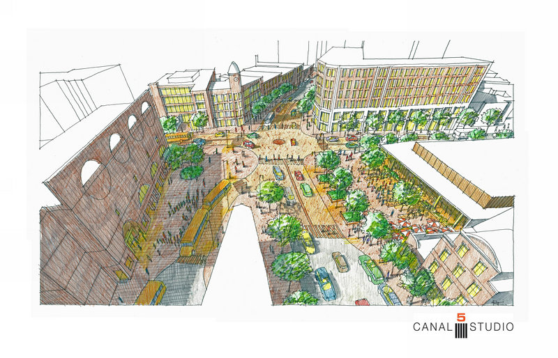 A view of Congress Square from Canal 5 Studio, the architects who are formally working with Rockbridge to develop a new event space adjacent to the hotel, shows narrower streets, outdoor cafe tables and a 2-way High Street.