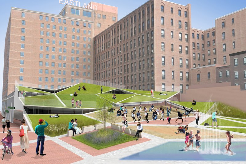 PRESENT Architecture, a New York City firm, has sketched a concept for Congress Square Park that would place a new event space and gallery below terraced lawns and outdoor seating.