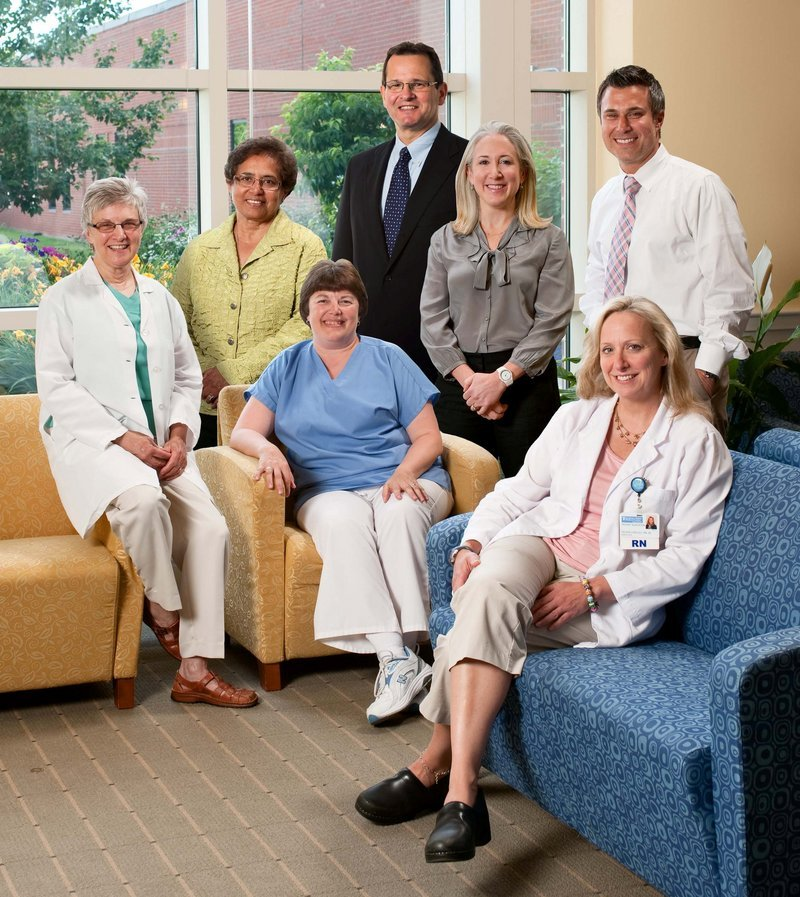 Southern Maine Medical Center's Center for Breast Care has been granted a three-year full accreditation designation by the National Accreditation Program for Breast Centers. Pictured are the center's team: (standing, from left) Sharade Pailoor, M.D.; Kurt Ebrahim, D.O.; Sara Holland, M.D.; and Cameron Saber, M.D.; (seated, from left) Catherine Share, M.D.; Cathy Lamb, R.T.; and Helene Langley, R.N., B.S., CPBN-IC.