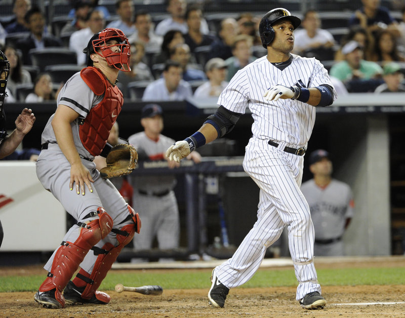 Thursday was a night for ball-watching, and Robinson Cano of the New York Yankees watched his two-run double in the third inning. The Red Sox catcher is Ryan Lavarnway. Boston lost a lead, then came back for a 9-8 victory in 10 innings.
